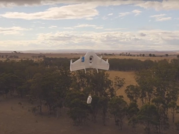 Teste do Project Wing com drone feito pelo Google (Foto: Reprodução / YouTube)
